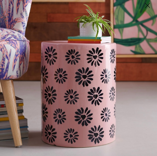 https://www.walmart.com/ip/Ceramic-Flower-Stamped-Side-Table-by-Drew-Barrymore-Flower-Home/333486654